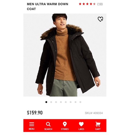 e7724a1c1 $160 UNIQLO Men's Ultra Warm Down Coat Parka